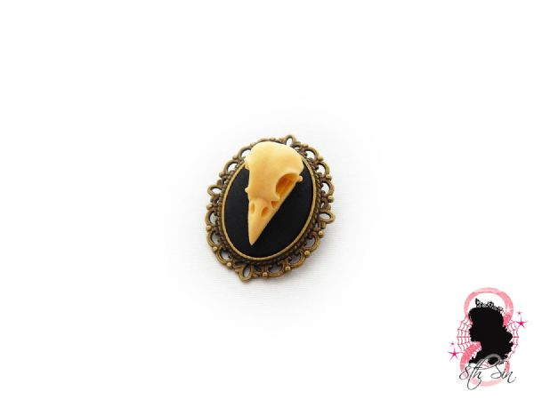"1.5"" Antique Bronze Bird Skull Brooch"